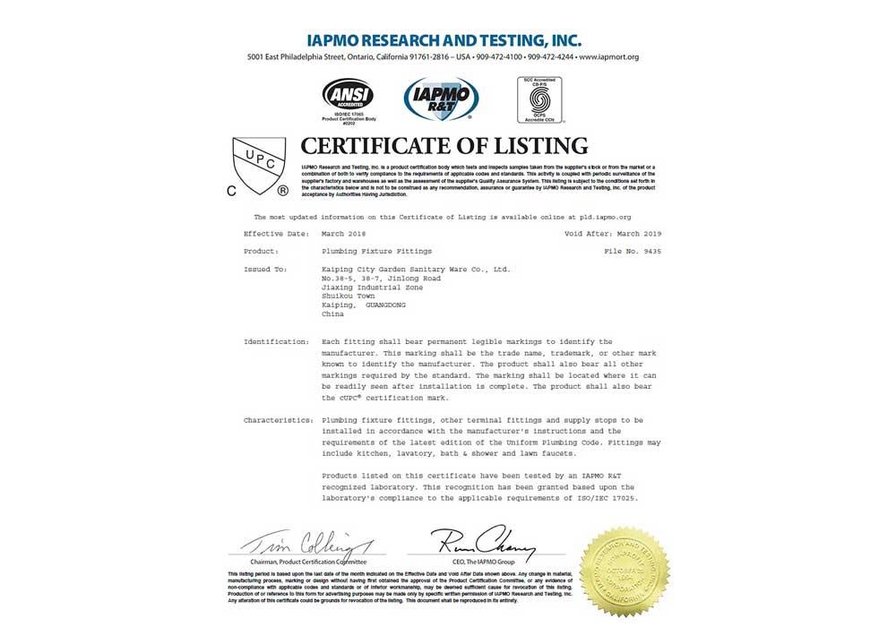 Cupc Certificate Viga Faucet